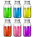 Set of glass bottles with colorful liquid vector image vector image