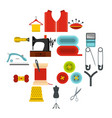 sewing set flat icons vector image vector image