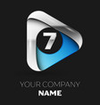 silver number seven logo in silver-blue triangle vector image vector image