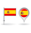 Spanish pin icon and map pointer flag vector image