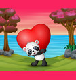 valentine day with a panda hold red heart vector image vector image