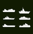 war icons white army ships set of 6 army ships vector image