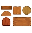 Wooden retro labels set Different shapes