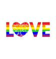 word love written in rainbow colors vector image