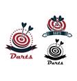 Darts sport emblems or symbols vector image