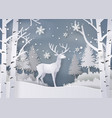 deer in forest with snow vector image