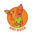 sausage sells hot dogs vector image