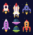 space with shuttles vector image