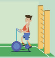 a man on a bicycle trainer vector image vector image