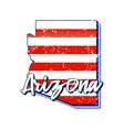 american flag in arizona state map grunge style vector image