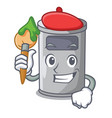 artist steel trash can with lid cartoon vector image