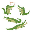 cartoon crocodiles isolated set vector image vector image