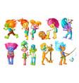cartoon funny troll characters set vector image vector image