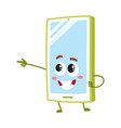 cartoon mobile phone smartphone character vector image vector image