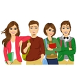 Casual group of students looking happy and smiling vector image vector image