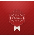 Christmas realistic red Emblem with Snowflakes vector image vector image