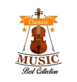 Classic music icon with violin and bows vector image