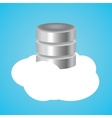 cloud database with clouds and data base vector image vector image