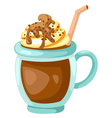 Cocoa with whipped cream cup vector image
