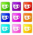 cup of coffee icons 9 set vector image vector image