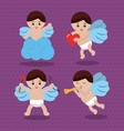 cupid love romantic lovely cute set vector image vector image