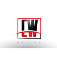 cw c w logo letters with red and black colors and vector image vector image