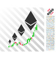 ethereum growth chart flat icon with bonus vector image vector image
