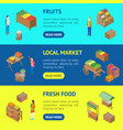 farm local market banner horizontal set 3d vector image vector image