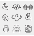 Fitness bodybuilding sport icons set vector image vector image