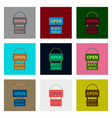 flat assembly icons of signboard black friday vector image vector image