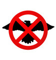 flat icon with crossed out silhouette of the bird vector image