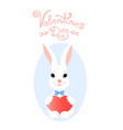 funny bunny with a heart greeting card for vector image vector image