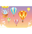 Hot air balloons in the sky with bunny vector image vector image