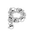 letter p skeleton bones font anatomy of an vector image