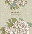 Magic flowers dream vintage background vector image vector image
