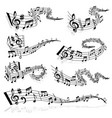 music wave with notes and treble clef vector image vector image