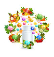 natural vitamin with healthy food poster design vector image
