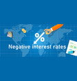negative interest rates in investment financial vector image vector image
