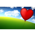 Red heart balloon in sky vector image