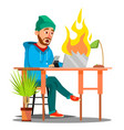 scared employees sitting at the table and burning vector image vector image