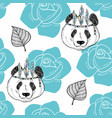 seamless pattern with cute panda as a native vector image vector image
