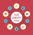 set of alive icons flat style symbols with hippo vector image