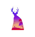 silhouette of a deer at sunset landscape vector image vector image