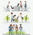 three scenes with different characters vector image vector image