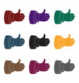 thumb up icon in black style isolated on white vector image