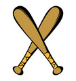 two crossed baseball bats icon icon cartoon vector image vector image