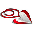 valentine day card on a red ribbon isolated on a vector image