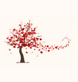 valentines day card love tree with heart leaves vector image vector image
