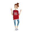 happy female teenager smiling and waving vector image