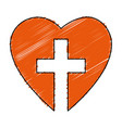 christian cross with heart isolated icon vector image
